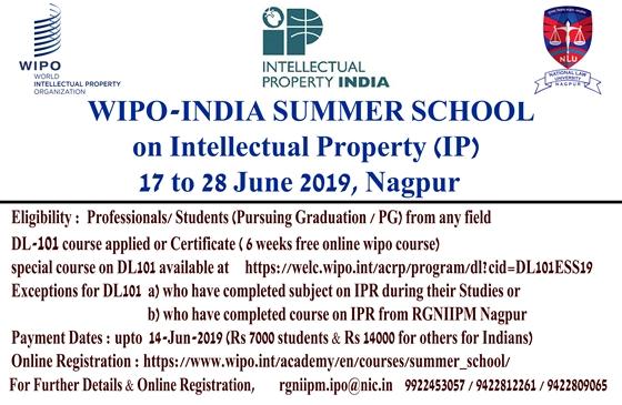 WIPO-India Summer School (17- 28 June 2019)