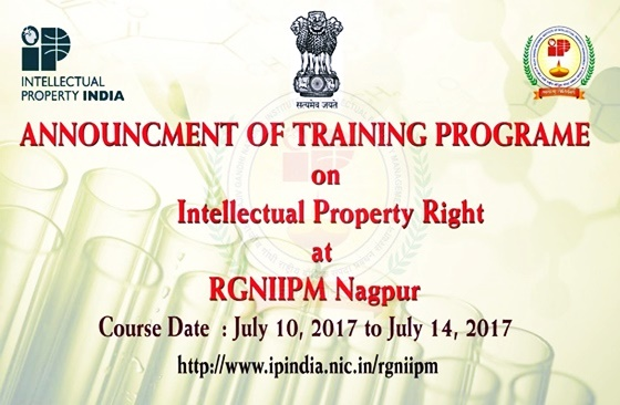 Announcment of Training Programe on Intellectual Property Right at RGNIIPM Nagpur